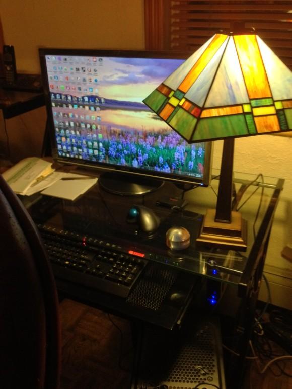 B.s desk area.